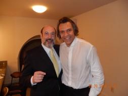 Sergio Casoy e o maestro Silvio Viegas-após a estreia de Otello T.da Paz-Belém-20.09.2014